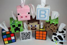 Plastic canvas minecraft tissue box covers