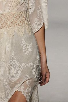Wedding Ideas: cream-gray-lace-dress