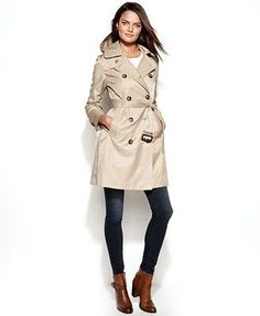London Fog Petite All-Weather Hooded Trench Coat
