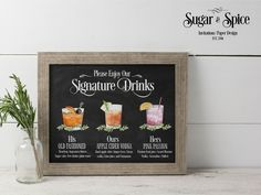 Wedding Signature Drinks Sign Printable, Custom Signature Drink Sign, Signature Drink Sign, Wedding Cocktail Sign His, Hers and Ours Menu Cocktail Names, Cocktail Menu, Wedding Signature Drinks, Signature Cocktail, Wedding Signage, Wedding Menu, Wedding Table, Wedding Decor, Wedding Ceremony