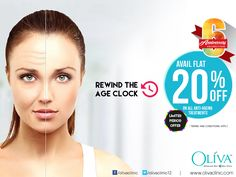 Are you seeing fine lines and wrinkles in the mirror instead of your #beautiful face? Avail flat 20% off on #antiagingtreatment. Rush today to any of your nearest Oliva Clinics to avail this 6th Anniversary special limited period offer.   or call 040-44757575 for book your appointment or to know about the exciting offers on other services.