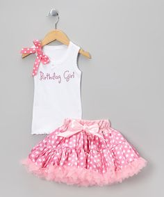 Take a look at this White 'Birthday Girl' Tank & Polka Dot Pettiskirt - Infant, Toddler & Girls by So Girly & Twirly on #zulily today!