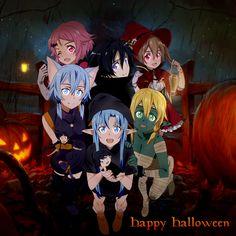 Kirito et Asuna et Yui et Leafa et Silica et Lisbeth et Sinon de sword art online halloween