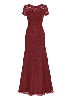 Dresstells® Long Lace Bridesmaid Dress Short Sleeved Evening Party Dress Burgundy Size 6