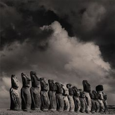 Easter Island Moai, photo by Michael Kenna. Easter Island is worth a visit . Exposure Photography, Art Photography, Landscape Photography, The Places Youll Go, Places To Visit, Easter Island Moai, Black And White Landscape, Art Sculpture, Nocturne