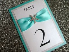 Starfish Glitter Table Number Tiffany Blue by PurpleandPlatinum