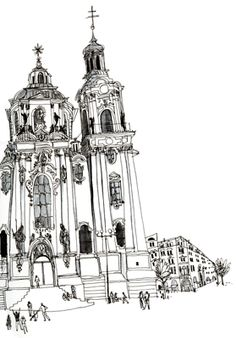 illustration of Black  White, Line, Pen  Ink, Architectural, Editorial, Historical, People, Travel