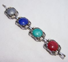 Multi Color Marbled Cabochon Bracelet Silver by GretelsTreasures