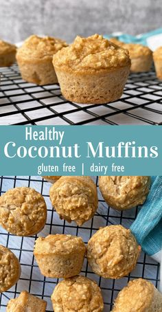 These mini Paleo Coconut Muffins are the perfect bite-sized muffins made with coconut flour. They have a rich coconut flavor and are paleo, nut free and dairy free. This mini muffin recipe is perfect for snacking and great for kids! #minimuffins #coconutmuffins #coconutflour Gluten Free Snacks, Gluten Free Breakfasts, Healthy Breakfast Recipes, Snack Recipes, Breakfast Ideas, Free Recipes, Dairy Free, Nut Free, Grain Free