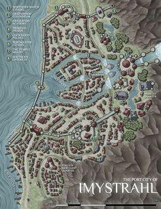 Coastal Town Imystrahl River Waterfalls Docks walled rough hills cliffs road n s Fantasy map making Fantasy city map Fantasy world map
