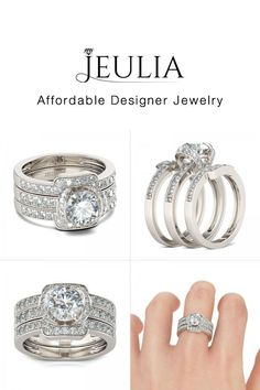3PC Round Cut Created White Sapphire Rhodium Plated Sterling Silver Women's Ring - Jeulia Jewelry