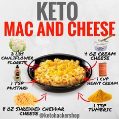 Keto Mac and Cheese – this super easy low carb mac and cheese recipe is made with zucchini noodles. It's thick and creamy without any use of flour so it's also gluten free! With only 5 carbs per serving, it's perfect for those on a keto diet as well! Cetogenic Diet, Low Carb Diet, Ketogenic Recipes, Diet Recipes, Keto Foods, Lunch Recipes, Dessert Recipes, Keto Mac And Cheese, Mac Cheese