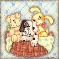 dog patterns suitable for applique Decoupage Vintage, Decoupage Paper, Tole Decorative Paintings, Tole Painting, Fabric Painting, Cute Images, Cute Pictures, Creative Pictures, Craft Patterns