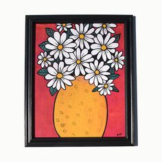 Items similar to Daisy Painting - Flower Still Life - Original Mixed Media Floral Painting by Claudine Intner - Daisies Art on Etsy Floral Artwork, Floral Wall Art, Yellow Vase, Daisy Painting, Handmade Stamps, Modern Art Prints, Painted Paper, Mixed Media Painting, Paint Markers