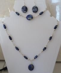 (Free S & H) Sterling Silver Filled Sodalite/Denim Lapis Jewelry Set