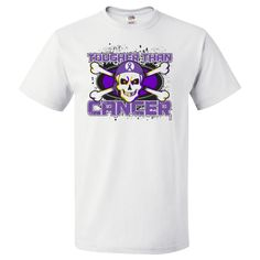 Pancreatic Cancer TOUGHER THAN CANCER T-Shirt spotlighting a cool skull design with crossbones and wearing a headscarf featuring an awareness ribbon to advocate for the cause #PancreaticCancerAwareness