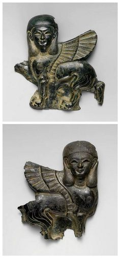 Plaque in the form of a sphinx. Period: Iron Age II. Date: ca. 8th century B.C. Geography: Syria. Medium: Bronze.