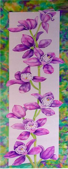 original silk painting, 3' by 9'.  Display at the US botanical gardens, Smithsonian Institution 2005