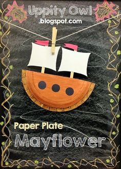 Mayflower paper plate craft, fun, easy and educational! The perfect activity to do after a Thanksgiving story!