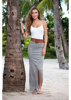 The duo you have to have: A blet and maxi skirt! Venus belted maxi skirt with Venus seamless cami and Venus embellished sandal.