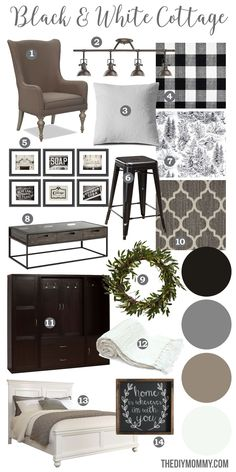 Mood Board: A Black & White Guest Cottage - Our Newest Small Space, Budget Renovation Project A black & white farmhouse country cottage decor mood board Farmhouse Bedroom Decor, Country Farmhouse Decor, White Farmhouse, Farmhouse Style, Bedroom Country, Country Living, Modern Farmhouse, Modern Cottage Decor, Cottage Farmhouse