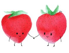 Berry has a girlfriend  #strawberry #drawing #illustration #art #painting #watercolor #fruit #food #instaart #red #cute #kawaii #love by esther_metske