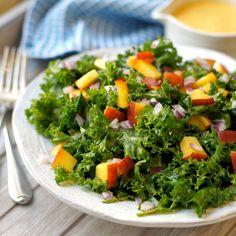 Kale Salad with Peach Vinaigrette | Detoxinista