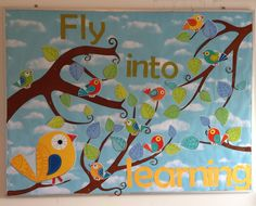 Homeschool classroom bulletin board. Boho Birds.