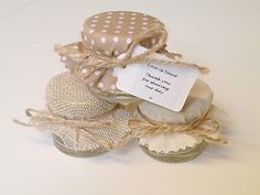 Shabby Chic 10-100 Hessian Polka Dot Personalised Mini Jam Jars Wedding Favours