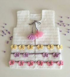 42 Ideas For Crochet Kids Bolero Layette Crochet Baby Sweater Pattern, Baby Sweater Patterns, Crochet Baby Cardigan, Easy Knitting Patterns, Baby Patterns, Knit Crochet, Crochet Patterns, Crochet Girls, Crochet For Kids