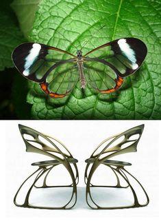 나비의 모습을 보면서 단순히 의자 하나를 떠올려 디자인한것이 아니라 두의자가 마주보고 있는 모습으로 연상해서 볼 수 있다는 게 대단한것 같다. 언뜻 의자하나로는 나비형태를 띄지않는데 옆모습에는 활짝 핀 날개 모습으로 되어잇어 의자하나만봤을때도독특한것 간타.