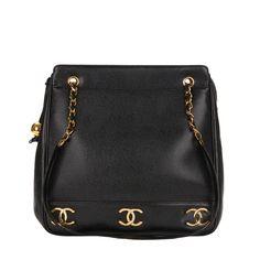 770a2413bbf9 1990s Chanel Black Caviar Leather Large CC Charm Shoulder Bag