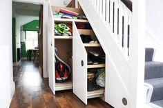 Simple Storage Design Ideas Under Stairs - Popular Hallway Shoe Storage, Staircase Storage, Stair Storage, Staircase Design, Curved Staircase, Modern Staircase, Under Stairs Nook, Under Stairs Cupboard, Cupboard Design