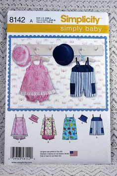 Simplicity 8142, Babies' Romper, Jumper, Panties and Hat Sewing Pattern, Baby Sewing Pattern, Baby Size XXS - L, New and Uncut by Allyssecondattic on Etsy