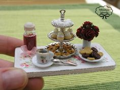 This reminds me of high tea at The Four Seasons.  Miniature Dollhouse Patisserie Sweets Board V by Minicler on Etsy, €22.00