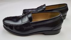 Chaps Black Loafers 8.5 Mens Slip On Shoes Penny M Medium Width Leather Upper Sz #Chaps #LoafersSlipOns