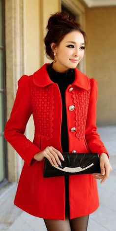 Red coat and turtle neck sweater