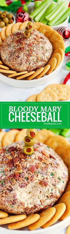 This Bloody Mary Cheeseball Recipe is the best easy appetizer option for entertaining. Made with many of the same ingredients and toppings as a traditional Bloody Mary drink (but without the alcohol) this family friendly hors d'oeuvre is full of great flavor and would look especially festive at a Christmas or other holiday party. #ad #HolidayRITZ @ritzcrackers