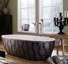 Candelabra and sexy patterned black tub