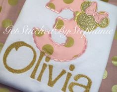 Pink and Gold Minnie Mouse Birthday por GetStitchedBySteph en Etsy