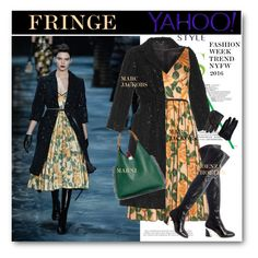 """Yahoo Style NYFW Trend: Fringe"" by svijetlana ❤ liked on Polyvore featuring Marc Jacobs, Proenza Schouler, Marni, Space Style Concept, contestentry and yahoostyle"