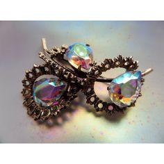 Rainbow Rhinestone Brooch,Aurora Borealis Brooch,Crystal Brooch... (670 UAH) ❤ liked on Polyvore featuring jewelry, brooches, rhinestone broach, vintage crystal brooch, initial jewelry, letter jewelry and crystal jewelry