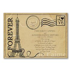 Ooh-la-la! Whether your wedding will be in Paris or at home with a Paris theme, this is the way to introduce it. The Eiffel Tower wedding invitation has vintage style.