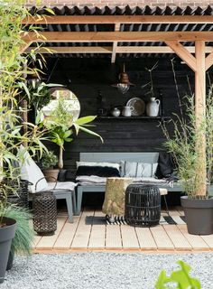 Another beautiful pergola with cosy seating area, decking and plants Outdoor Furniture Sets, Home And Garden, Garden Room, Outdoor Decor, Outside Living, Outdoor Rooms, Garden Inspiration, Outdoor Dining, Outdoor Design