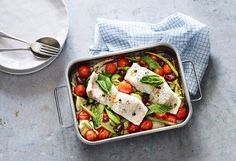 Tray Baked Fish with Mediterranean Vegetables 28 By Sam Wood, Baked Fish, Bruschetta, Tray Bakes, Dinner, Baking, Vegetables, Ethnic Recipes, Food