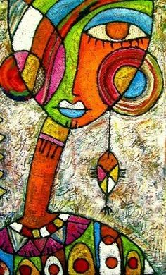 Mujer Africana ~ Artist Taieb Ayat ~ love this vibrant style, fabulous!