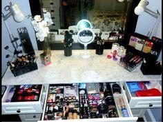 Tocador de maquillaje- organización Vanity makeup-organization Vanity maquillage-organisation #tocador #maquillaje #organización