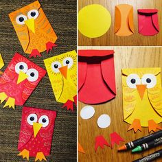 """30 Likes, 2 Comments - Art with Mr. Giannetto (@youngschoolartwithmr.g) on Instagram: """"Easy Owl Paper Craft #youngschoolart #kidscraft #owlcraft #craftsforkids #paperowls #kindercrafts…"""""""