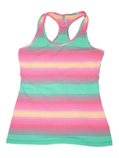 0c822674e0ec02 Girl Ivivva Pink Striped Keep Ur Cool Racerback Tank Gymnastics Dance Size  14  ivivva Kids