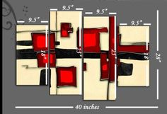 """Large Red and Cream Abstract Canvas artwork Picture 4 pieces multi panel split canvas completely ready to hang hanging cord attached, hanging template included for easy hanging, hand made printed to order UK company 40"""" width 28"""" height"""